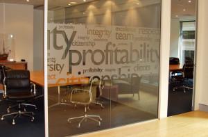 Typography - Custom Window Film Office